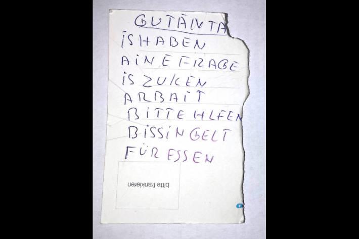 Diesen Bettelbrief zeigten die Unbekannten der Geschädigten