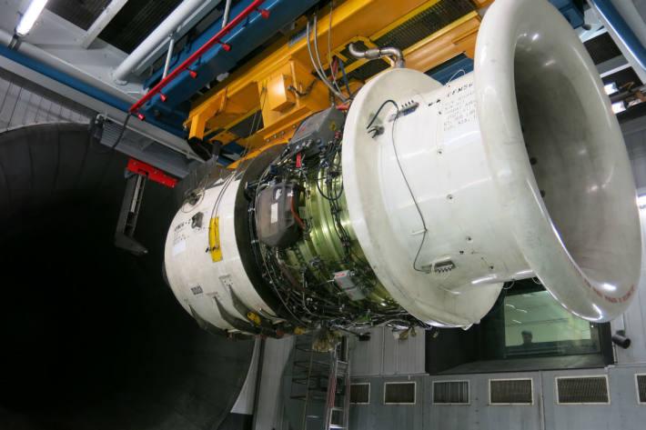 Turbine im Prüfstand (nicht in Betrieb).