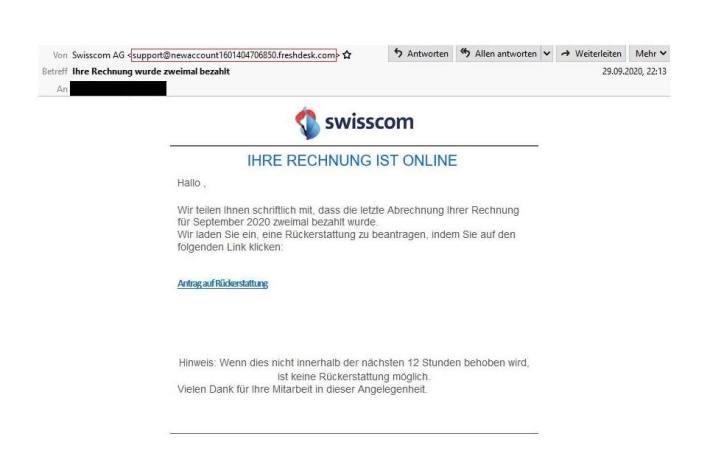 Screenshot der E-Mail der angeblichen Swisscom (Schweiz) AG