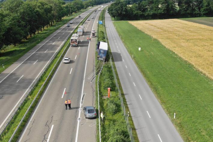 Unfallstelle auf der A13 bei Widnau