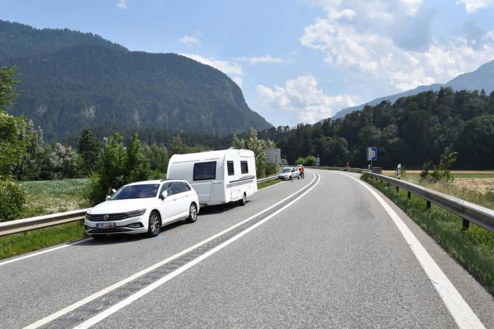 Von Abstellplatz auf Autostrasse eingefahren und kollidiert auf der A13 bei Bonaduz
