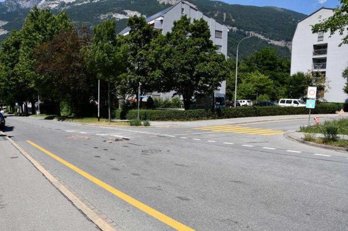Unfallstelle auf der Giacomettistrasse in Chur