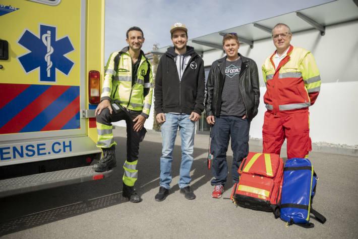 Wiedersehen nach Happy-End (von links): Mo El Attar, Joél Rumo, Phil Cotting und Markus Stempfel.