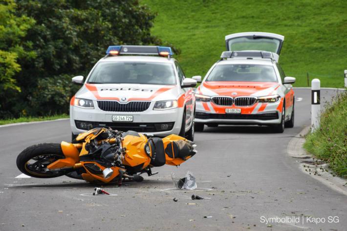 Selbstunfall mit Motorrad bei Mühlrüti