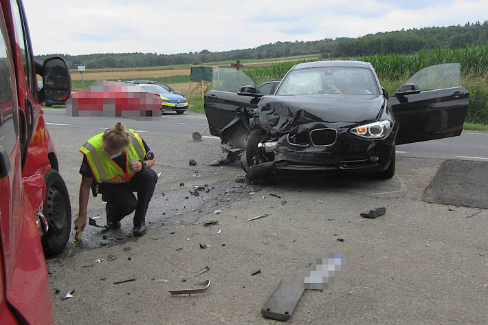 Am Unfall beteiligter BMW in Bad Münder