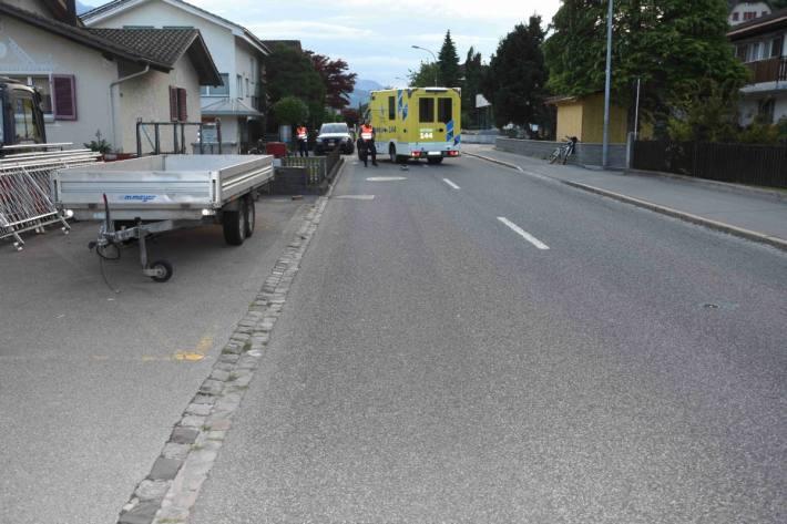 Beim Unfall in Sargans SG verletzte sich gestern der E-Bike-Lenker.