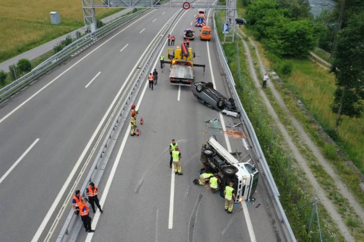 Unfallsituation auf der A13 bei Lumino
