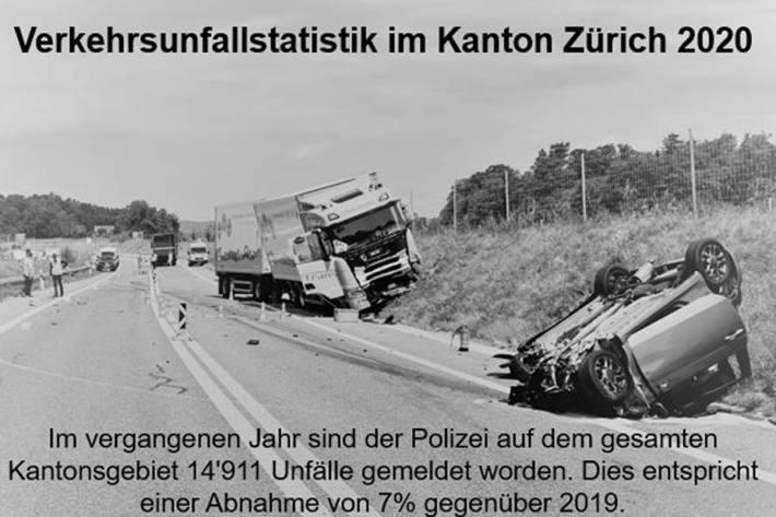 Die Kantonspolizei Zürich hat die Zahlen der Verkehrsunfallstatistik 2020 präsentiert