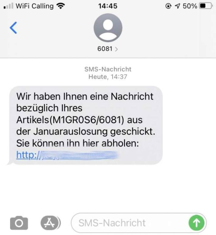 SMS des Fake-Wettbewerbs