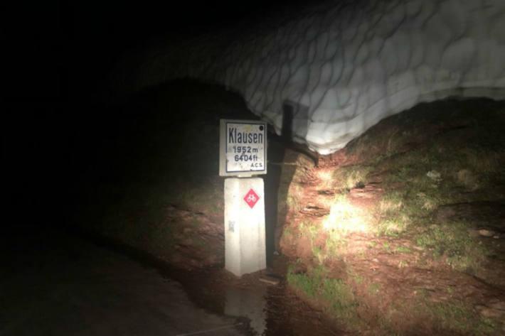 Auf dem Klausenpass lag die Temperatur um Mitternacht auch bei 19 Grad!
