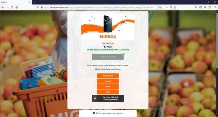 Screenshot des angeblich ausgelosten Preises
