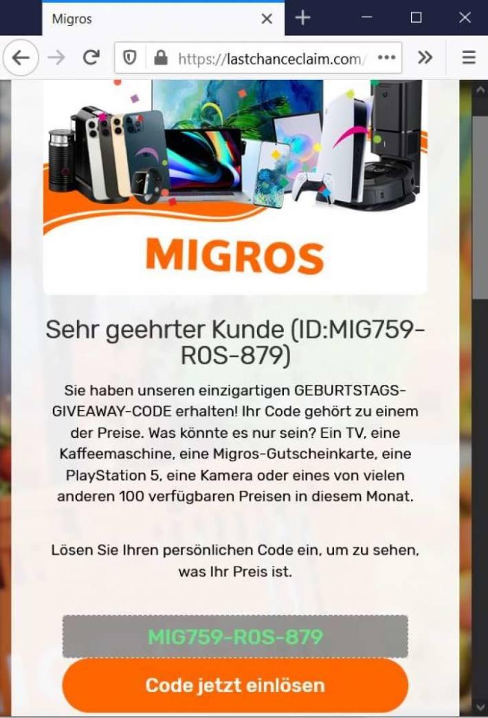 Screenshot der angeblichen MIGROS-Webseite inkl. Gewinncode