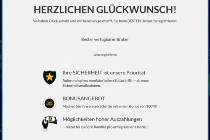 Screenshot Registrierung