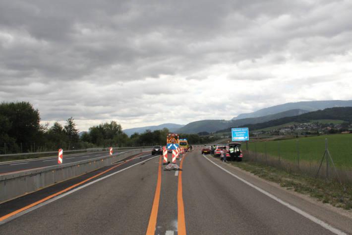 Unfallörtlichkeit auf der A16 bei Delémont