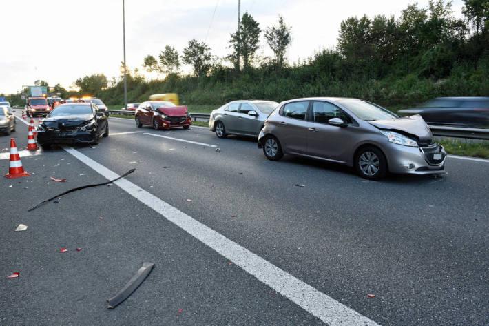 Unfallstelle auf der A14 bei Ebikon