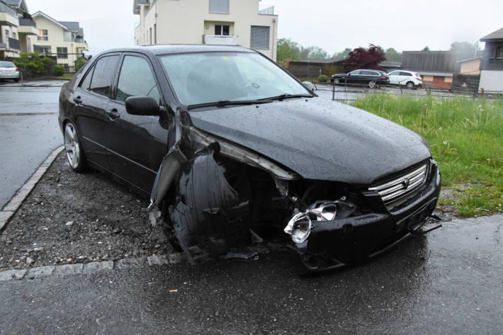 Unfallfahrzeug nach Unfall in Sennwald SG