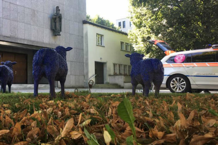 Die Herde vermisst ein blaues Schaf.