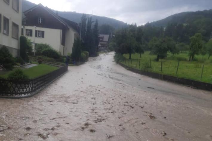 Auch in Trimbach SO kam es gestern wegen dem starken Regen zu Verwüstungen.