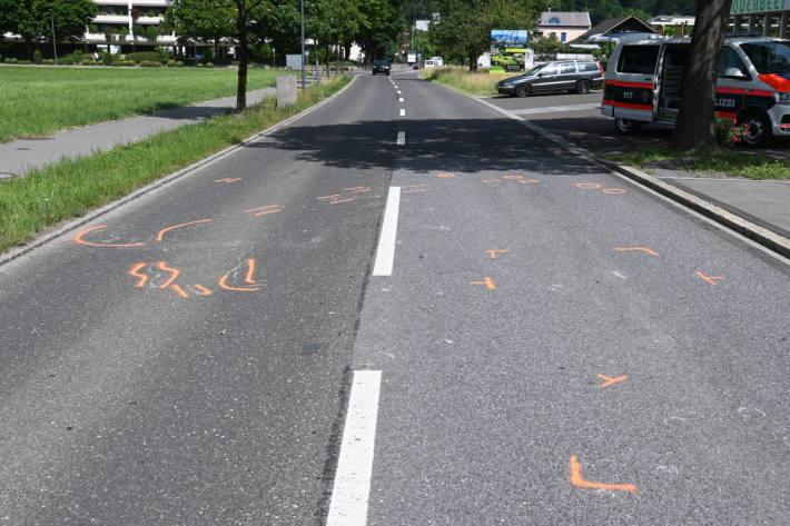 Verkehrsunfall zwischen Motorrad und Pferdekutsche in Vaduz – Unfallstelle