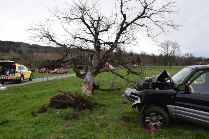 Zwei Schwerverletzte nach einem Selbstunfall in Giswil