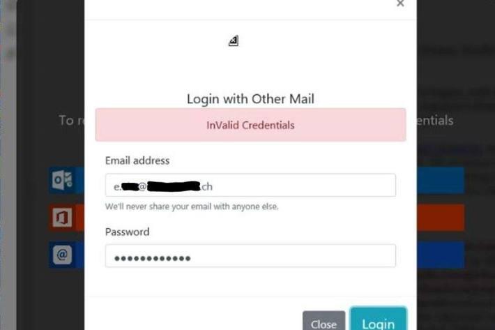 Screenshot Passwort falsch.