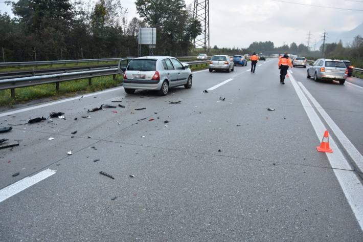 Am Mittwoch kam es auf der A13 bei Oberriet SG zu einem Unfall zwischen vier Autos.