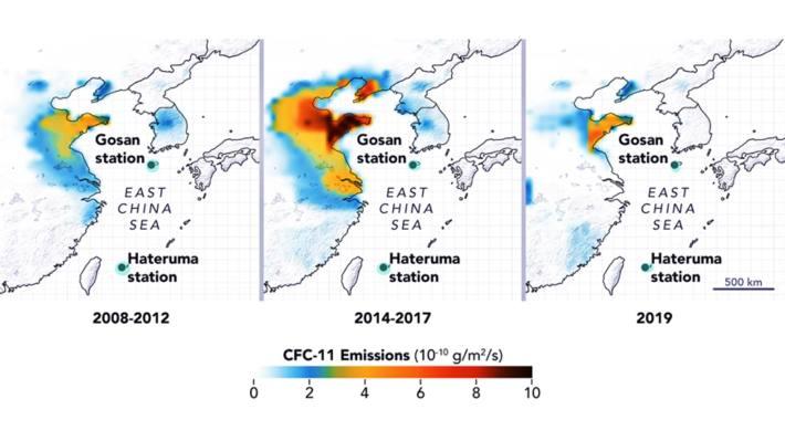 CFC-11-Hotspots: Die CFC-11-Emissionen stiegen zwischen 2008 und 2012 in Chinas Nordosten stark an. Besonders die Provinzen Shandong und Hebei trugen zu den steigenden Messwerten bei. Erfreulicherweise sanken die Emissionen im Jahr 2019 auf frühere Werte ab.