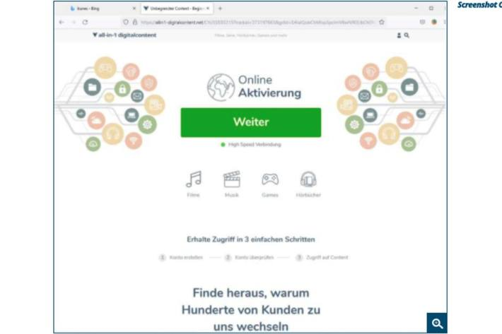 Screenshot Online Aktivierung.
