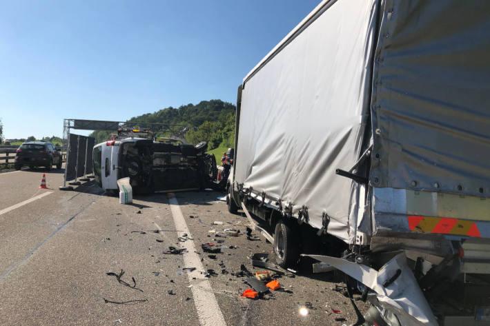 Unfallstelle auf der A1 bei Gossau