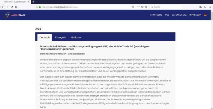 """Screenshot der AGBs der Firma """"Mobiletrade AG"""""""