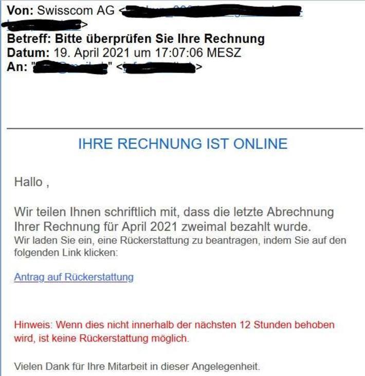 Screenshot Angebliches Mail von Swisscom April 2021