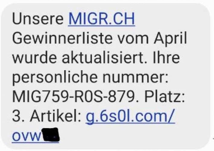 SMS des Fake Wettbewerbes Mai 2021