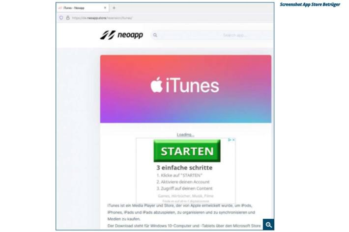 Screenshot App Store Betrüger.