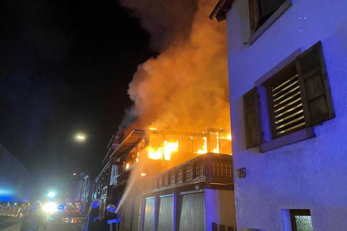 Brand in ehemaliger Pension in Frankeneck