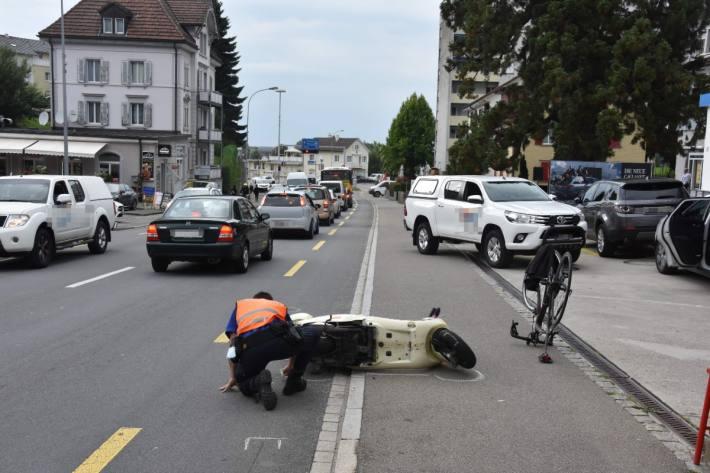 In Wittenbach SG verletzte sich bei einem Unfall heute ein Velofahrer.