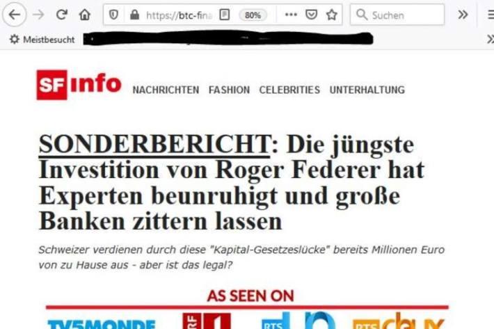 Screenshot Webseite Gefälschter Bericht über den Auftritt von Roger Federer im 10 vor 10