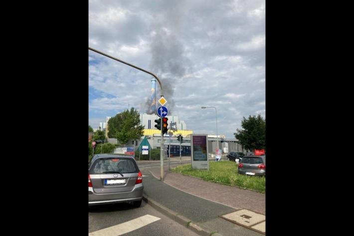 Brand im Heizkraftwerk Heddernheim in Frankfurt am Main