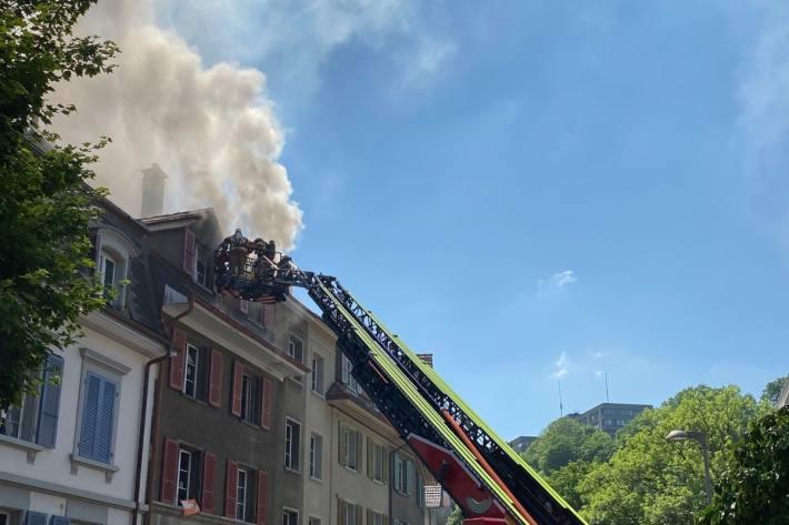 Heute brannte es in Bern in Sandrainquartier.