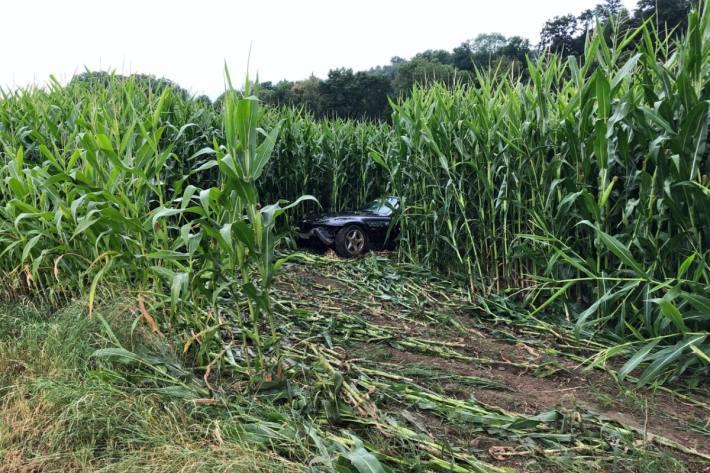 In Schüpfen BE durchbrach heute ein Auto auf der Autobahn einen Zaun und landete im Maisfeld.