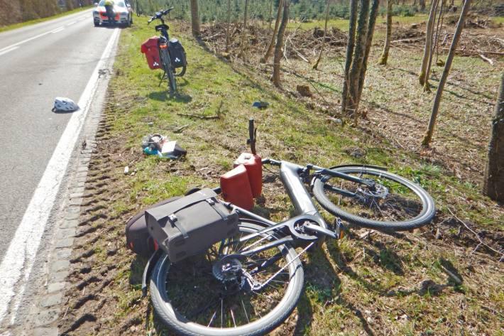 In Ermatingen TG verletzte sich heute eine Frau bei einem Unfall.