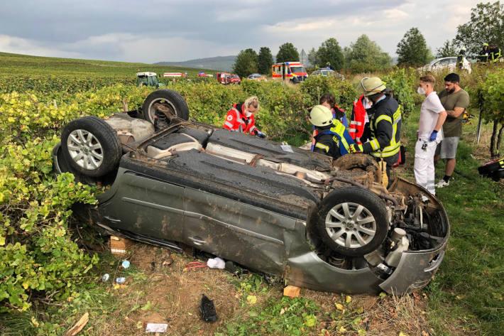 PKW-Fahrer landet in Weinbergen