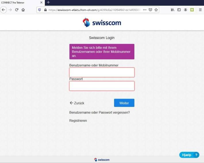 Screenshot Fake-Loginseite der angeblichen Swisscom (Schweiz) AG