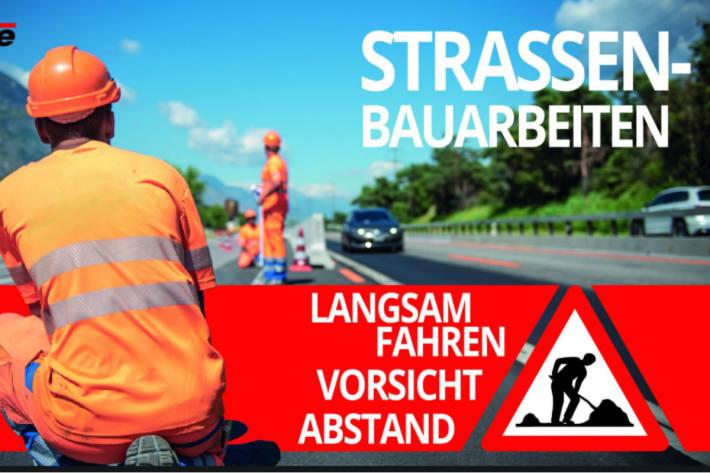 Vorsicht - Baustellenarbeiten auf den Strassen.