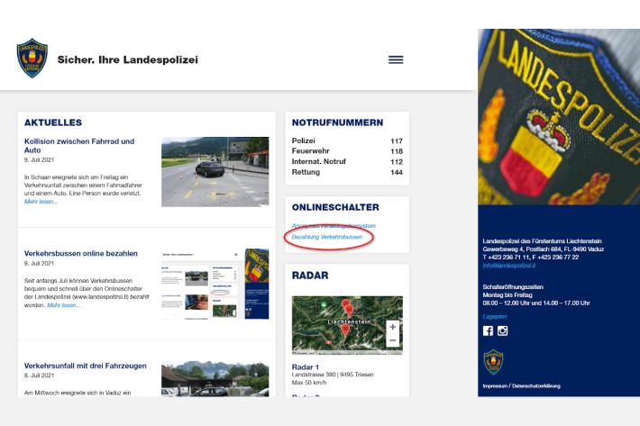 Verkehrsbussen online zahlen in Liechtenstein