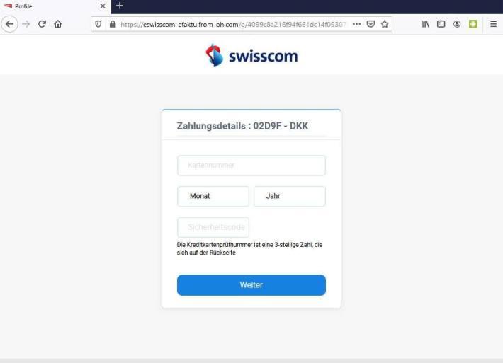 Screenshot Kreditkartendaten Phishing