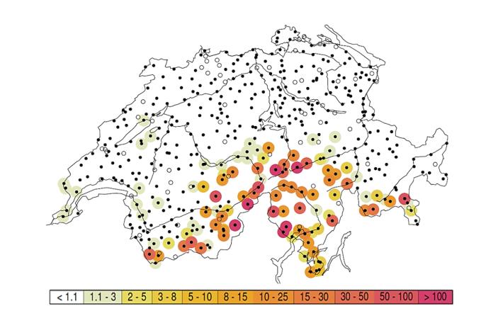 Wiederkehrperioden in Jahren der 1-Tagesniederschläge vom 2. Oktober 2020.