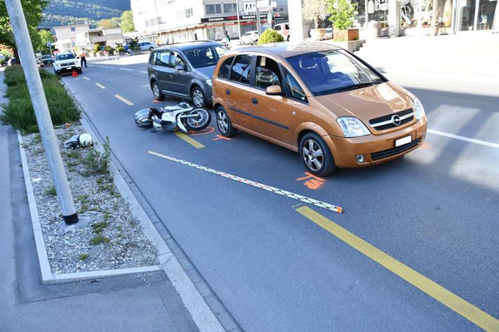 Auffahrunfall mit drei beteiligten Fahrzeugen in Chur