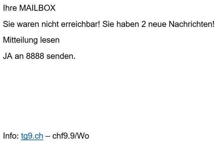 Screenshot SMS Abzocke tg9.ch