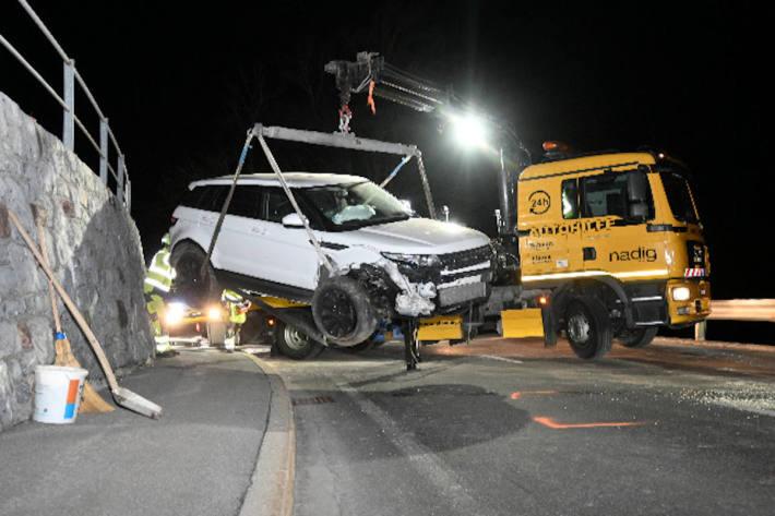 Unfallfahrzeug in Triesenberg