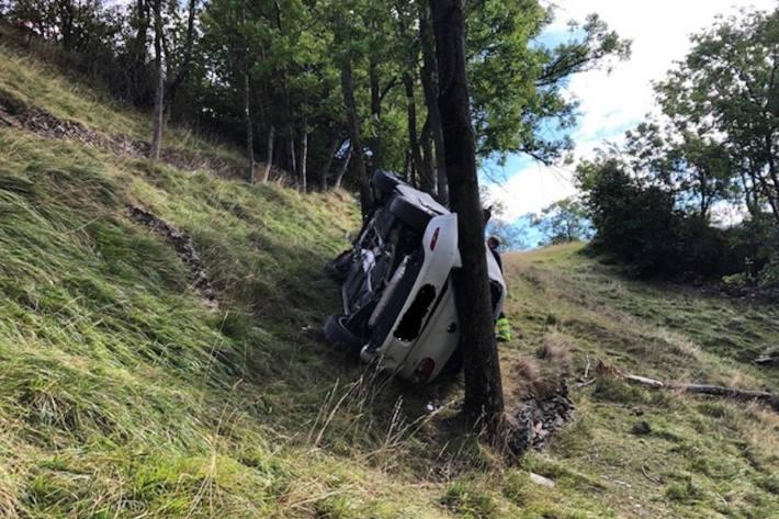 Endlage des Unfallfahrzeugs bei Ausserberg